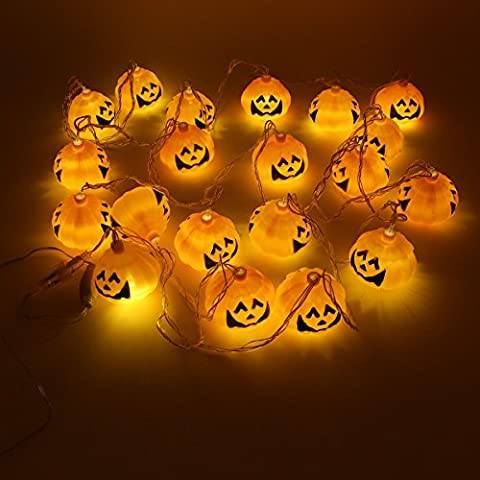Halloween Jack O Lantern Pumpkin 18.8 Ft String Lights, Waterproof Copper Wire 20 LEDs for Halloween Decoration, Indoor, Outdoor, Patio, Hallway, - Folding Candy Pail