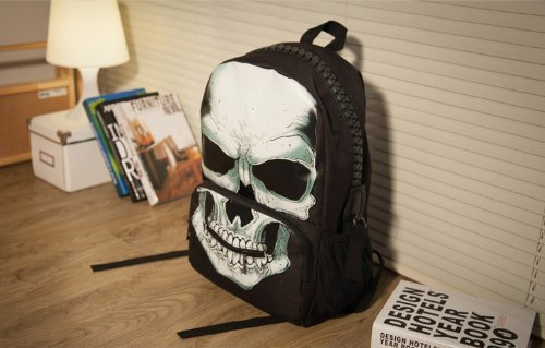 Flesser Fashion Personality Pirate Skull Canvas Backpack Large Capacity School Bag Punk Double Shoulders Bag