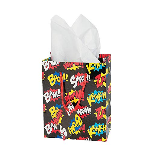 (Fun Express - Small Superhero Gift Bags (dz) - Party Supplies - Bags - Paper Gift W & Handles - 12 Pieces)