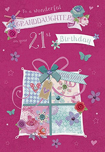 Amazon Com Age 21 Granddaughter 21st Happy Birthday Glitter Amp