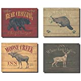 Rustic Deer Bear Beaver and Moose Sign; Cabin Lodge Decor; Four 10x8in Poster Prints