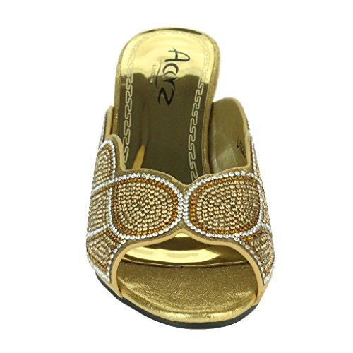 Frau Damen Sparkly Diamant Abend Hochzeit Party Abschlussball Block Heel Schlüpfen Sandalen Schuhe Größe Gold