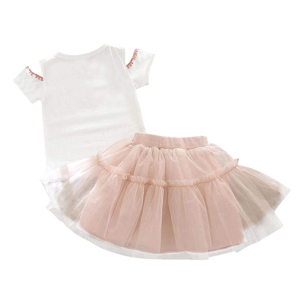 Anidalec 2pcs Kids Summer Cold Shoulder Short Sleeve T-shirt+Skirt White 18-24M