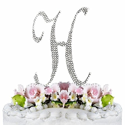 Rhinestone Silver Crystal Covered Monogram Letter Initial Wedding Cake Topper (H)