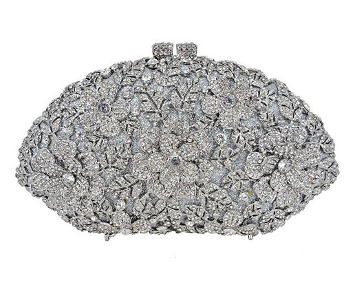 Flower Luxury GAOXIA Silber Bag Evening Fashion Clutch Bag Bag Evening Rhinestone Diamond Crystal Shoulder Women Wedding Pattern 4qqwPfA