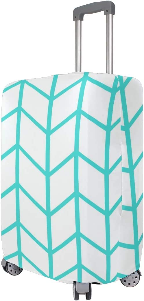 Nanmma Cute 3D Teal White Pattern Luggage Protector Travel Luggage Cover Trolley Case Protective Cover Fits 18-32 Inch