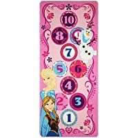 Gertmenian Disney Frozen Hopscotch Toys Rug Anna, Olaf, Elsa Bedding Play Mat Game Rugs w/ 2 Snow Flakes Toy, 26x58