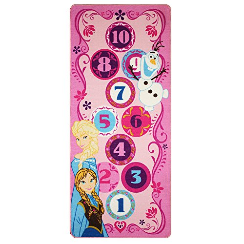 Disney Frozen Hopscotch Toys Rug Anna, Olaf, Elsa Bedding Play Mat Game Rugs w/ 2 Snow Flakes Toy, 26