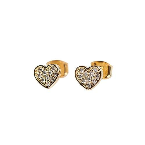 2e13fd68a014 LuckyLy – Aretes Swarovski Mujer – Aretes Corazón Melody – Baño de Oro con  Zirconia Cúbica