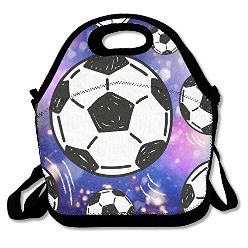 ZMvise Soccer Ball Cool Lunch Tote Insulated Reusable Picnic Lunch Bags Boxes Men Women Kids Toddler Nurses Travel Bag by ZMvise