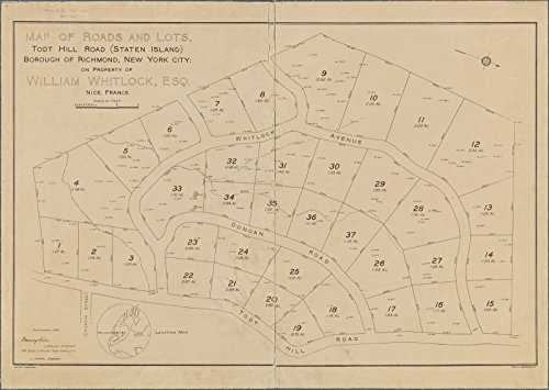 Map Poster - Map of roads and lots, Todt Hill Road (Staten Island), Borough of Richmond, New York City, on property of William Whitloc 17