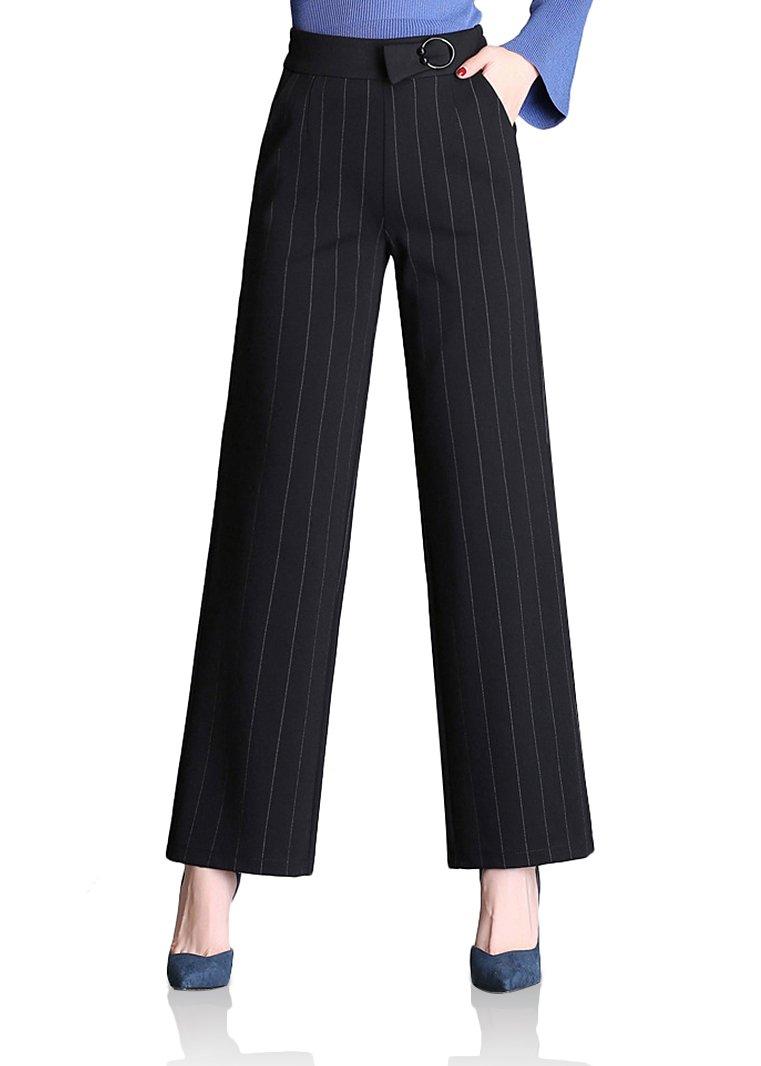 Smibra Womens Super Comfy Elastic Back Waistband Wide Leg Dressy Work Pants