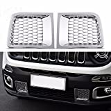 Nicebee front bumper under grille air input outlet trim with net chrome For 2015 UP Jeep Renegade