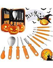 XJOO Pompoensnijset, 11 halloweenstuk roestvrij staal, pompoensnijset, voor kinderen, Halloween, carving, decoratie, 10-delige carving sjablonen