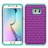 Samsung Galaxy Note 5 Case - Galaxy Wireless Hybrid Dual Layer Diamond Crystal Case for Samsung Galaxy Note 5 - Purple on Teal Diamond Hybrid)