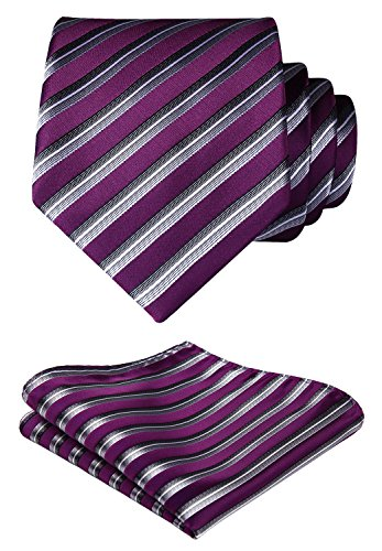 HISDERN Plaid Tie Handkerchief Woven Classic Stripe Men's Necktie & Pocket Square Set (Purple & Silver)