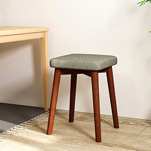 ch-AIR Stool Washable Pure Beige Fabric Cover Small High Ottoman Wooden Footrest Pouffe Stool 4 Legs Shoes Stool Sofa Stool 31 X 43 cm 0702A (Color : Light Gray) (Pouffe Footrest)