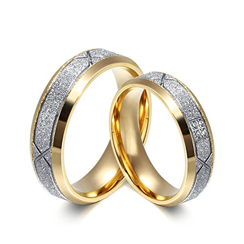 Stainless Steel 18k Gold Plated Wedding Engagement Band Couple Ring - 4