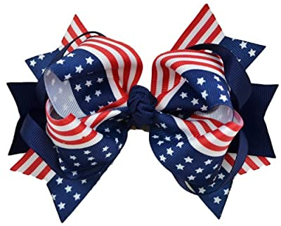 USA 4th of July 5 Inch Loopy Hair Bow By Funny Girl Designs
