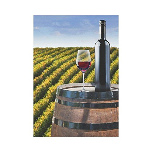 Garden Flag Double Sided Printed Red Wine Wood Barrel Vineya