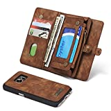 RAYTOP [Magnetic Removable Phone Case] + [10 Card Holders] + [4 Large Pockets] Synthetic Leather Wallet for Samsung Galaxy S7 [Magnet + Zipper + Button Closure] Dark Brown Large Capacity