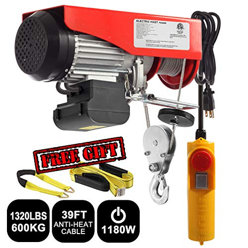 Partsam 1320 lbs Lift Electric Hoist Crane Remote Control Power System, Zinc-Plated Steel Wire Overhead Crane Garage Ceiling Pulley Winch w/Premium Straps (UL/CUL Approval, w/Emergency Stop Switch) - Electric Power Chain Hoists