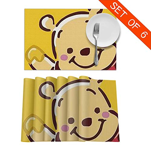(LCXjj Winnie The Pooh Funny Non-Slip Insulation Placemat Washable Table Mats Set of 6 (6pcs Placemats) -12x18 Inch)