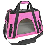 SaveOnMany ® Zipper Window Lockable Dog Cat Travel Carrier Outdoor Tote with Zipping Buckle For Pets Comfort Airline Approved Travel Soft Side Bag (Large - Hot Pink)