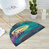 Fantasy Half Round Door mats Giant Jellyfish and Diver in The Sea Underwater Submarine Aquatic Artwork Print Bathroom Mat H 51.1'' xD 76.7'' Teal Purple