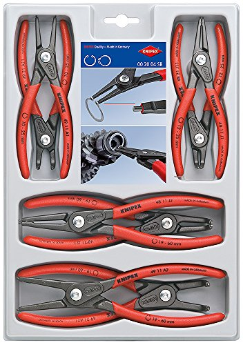 KNIPEX Tools 00 20 04 SB, Precision Circlip Snap-Ring Pliers 8-Piece Set Channellock Snap Ring Pliers