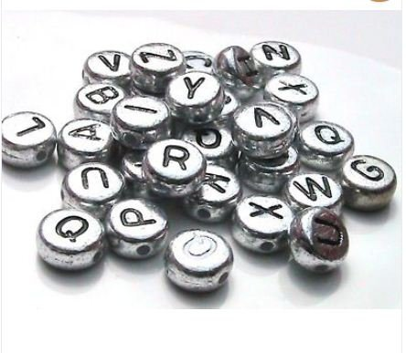 100 x 7mm Silver Coloured Alphabet Letter Beads- (Crafts - Jewellery Making Beads - Fashion Charms - Jewelry Accessories - Jewellery Findings 2s) by Libbyshouse