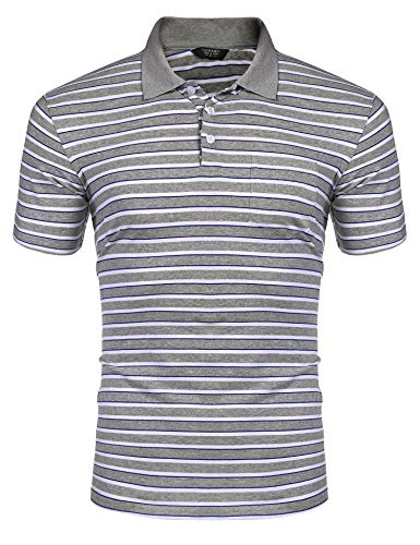 COOFANDY Men's Short Sleeve Polo Shirts Slim Fit Casual Striped Polo T Shirts with Pocket Gray