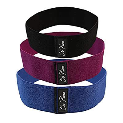 So Prime Booty Resistance Bands - Glute Strengthening Exercise for Women and Men - Elastic Non Slip Loop with a Low, Medium, and Heavy Fabric Band - Set of 3 - with Workout Book & Carry Bag by So Prime