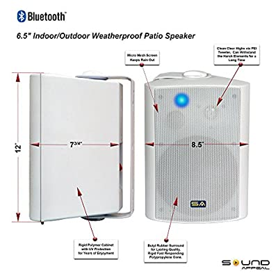 "Wireless Outdoor Speakers, Bluetooth 6.50"" Indoor/Outdoor Weatherproof Patio Speakers,White, Pair, by Sound Appeal"
