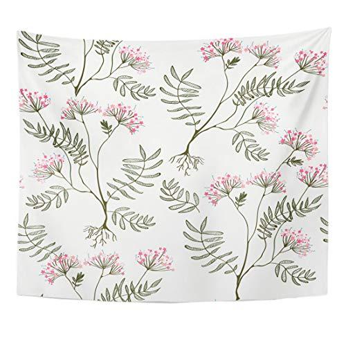 Semtomn Tapestry Heliotrope Black Root Valerian Medicine for Heart Pink Botanical Home Decor Wall Hanging for Living Room Bedroom Dorm 50x60 -