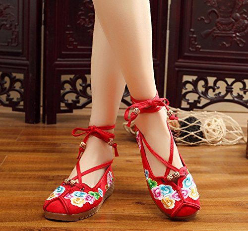 AvaCostume Womens Ethnic Embroidery Flats Ankle Strappy Dress Shoes Red Dq0k3UXx