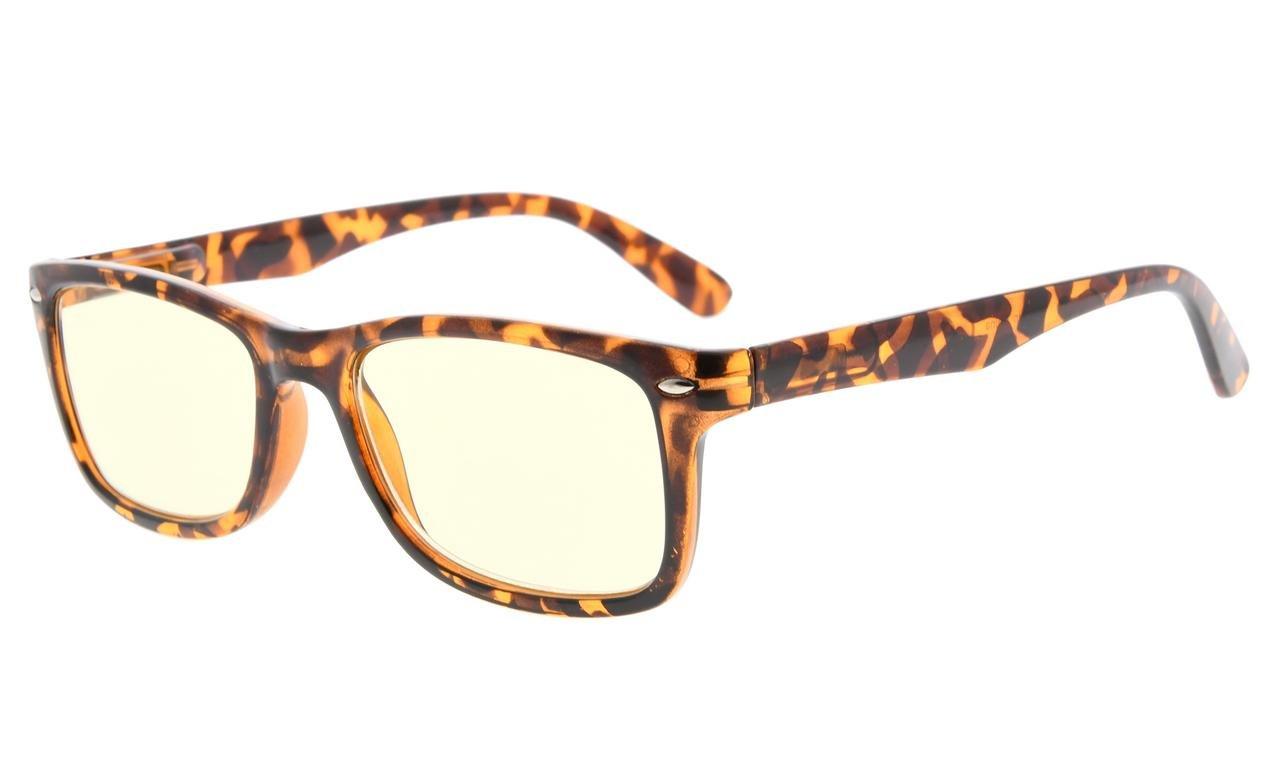 Eyekepper Computer Reading Glasses,UV Protection, Anti Glare,Anti-reflective Computer Readers (Tortoise, Yellow Tinted Lenses) +1.75