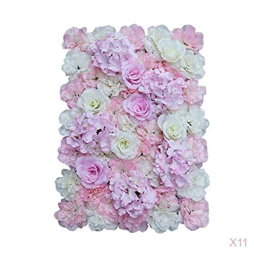LOVIVER 11pcs Silk Hydrangea Flower Mat Wall Wedding Event Decor for DIY Centerpiece Arrangement Party Decorations