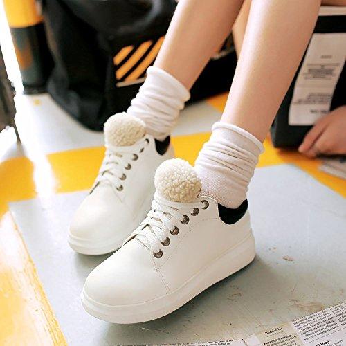 Latasa Womens Velvet Lining Lace up Oxford Flats Shoes White m5ek6Yvv