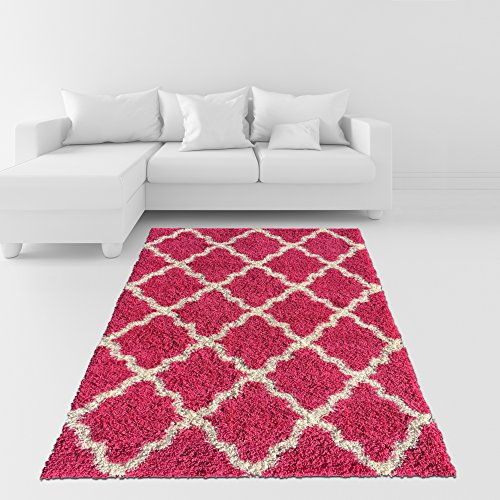 Hot Pink Contemporary Rug (Soft Shag Area Rug 5x7 Moroccan Trellis Pink Ivory Shaggy Rug - Contemporary Area Rugs for Living Room Bedroom Kitchen Decorative Modern Shaggy)