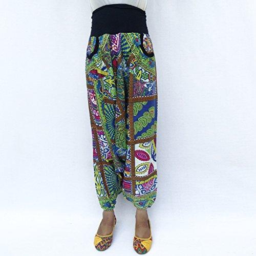 Rayón Floral Print 2 bolsillos laterales elásticos de la cintura elástico del tobillo Harem Afghani Pantalón