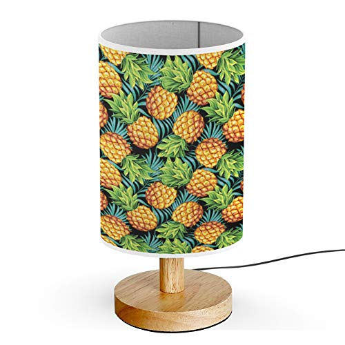 ARTSYLAMP - Wood Base Decoration Desk Table Bedside Light Lamp [ Pineapples Ripe Tropical Palm Branches ]