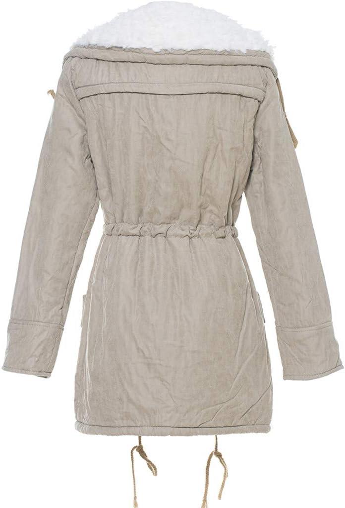 Women Warm Long Coat Collar Hooded Jacket Slim Winter Parka Outwear Coats PK//M Pink