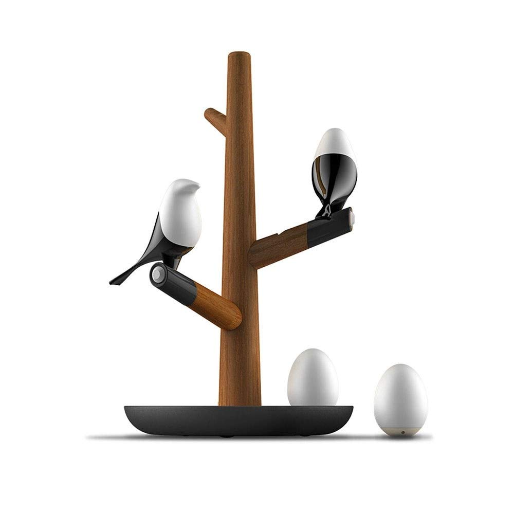 CDL Creative Solid Wood Table Lamp Reading Lamp Intelligent Human Body Induction Led Night Light,Rechargeable Bedlight Nightstand Light Magpie Bird Shape Wall Light, Household