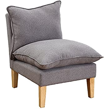 Amazon Com Lssbought Fabric Armless Contemporary Style Accent Chair With Solid Wood Legs Gray