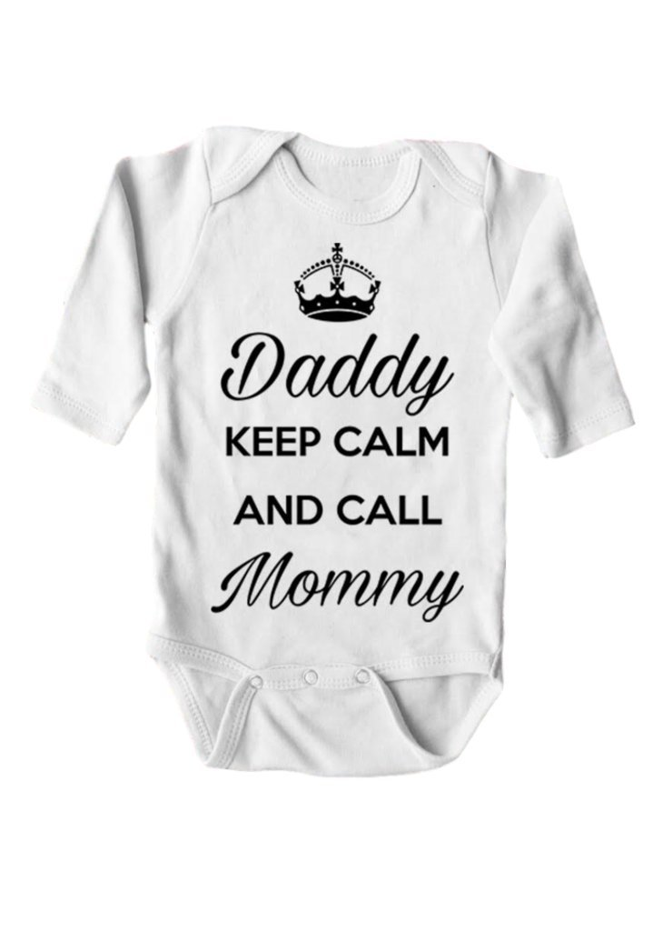 Cozy Bees Daddy Keep Calm and Call Mom Funny Baby Onesie Long Sleeve Cute Baby Gift Brand Name (0-3M, Pink)