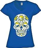 America's Finest Apparel Golden State Basketball Sugar Skull Womens VNeck Shirt (Medium)