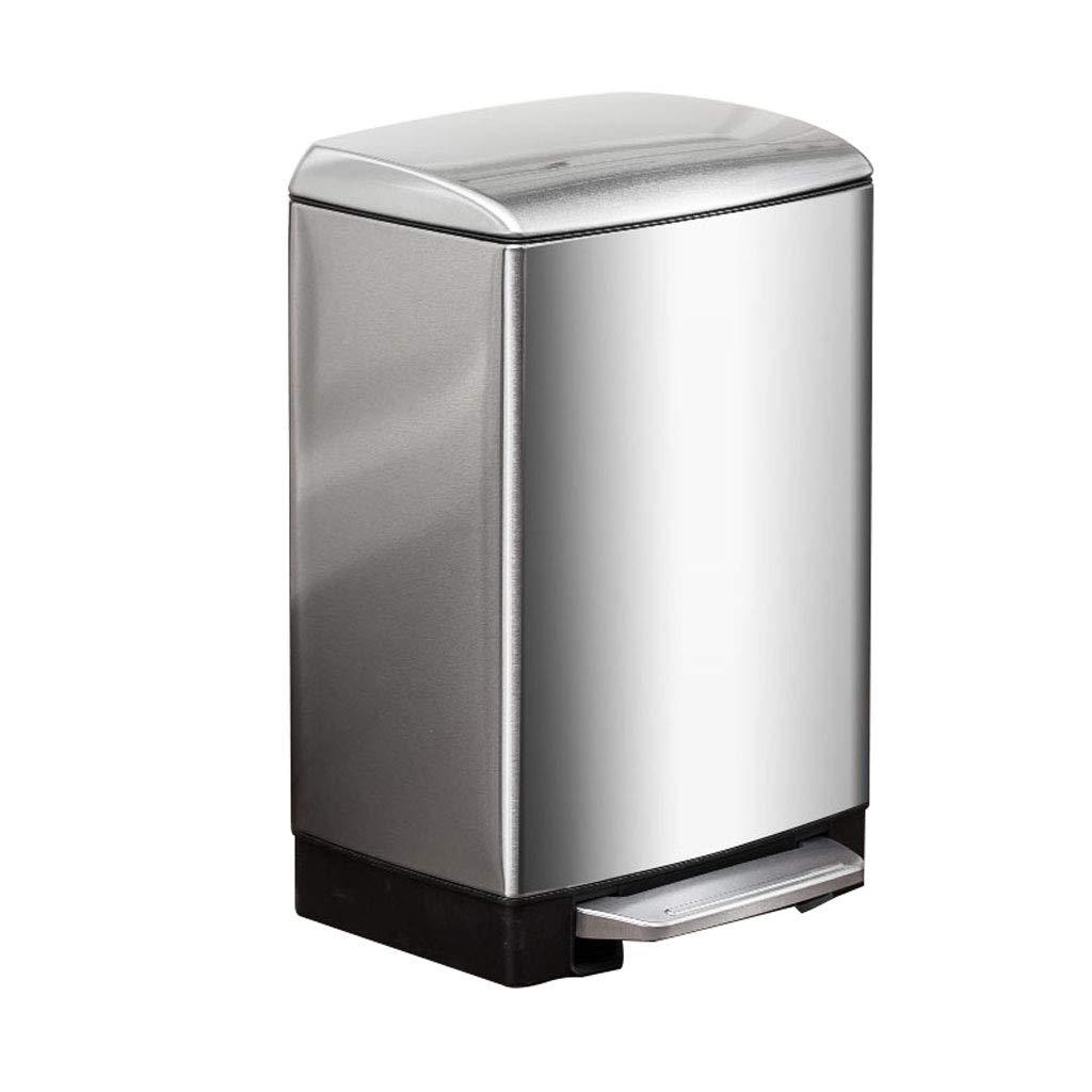 DUWEN-Mülleimer Edelstahl Mülleimer Home Wohnzimmer Küche Badezimmer Mode (Farbe   Silber, größe   12l)