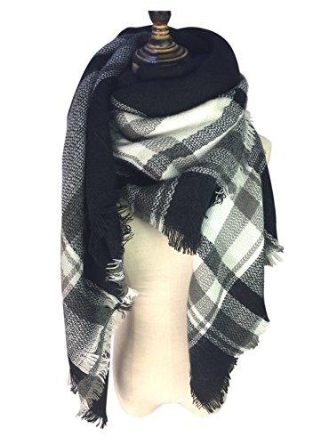 Scarf Black White (Women's Fall Winter Scarf Classic Tassel Plaid Tartan Long Shawl Big Grid Warm Soft Chunky Large Blanket Wrap Shawl Scarves (Black/White))