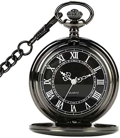 WIOR Black Pocket Watch Roman Pattern Steampunk Retro Vintage Quartz Roman Numerals Pocket Watch (B)